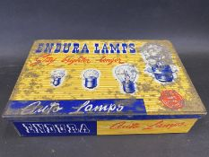 An Endura Lamps rectangular dispensing tin with a complete set of boxed bulbs inside.