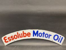 An Essolube Motor Oil curved double sided enamel sign cabinet or larger sign pediment in superb
