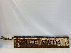 """A 'Police Station' cast iron double sided directional road sign with partial bracket, 49 1/2 x 8"""""""