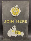 """An early AA Join Here pictorial embossed showcard advertising sign, 9 1/2 x 14 1/4""""."""