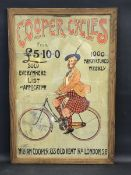 A rare Cooper Cycles pictorial showcard depicting a Scottish gentleman on a bicycle by Alex K.