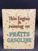 """A Pratts Gasoline rectangular celluloid sign, 7 x 9""""."""