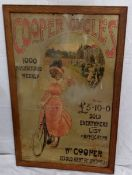 """A Cooper Cycles pictorial showcard depicting an Edwardian lady riding a bicycle, 19 x 29""""."""