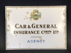A Car & General Insurance Corporation Limited Agency tin fronted showcard with image to the centre