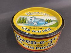 A Kleen-e-ze car polish tin in excellent condition, with an image of a 1950s car to the lid.