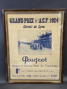 A framed and glazed 1924 advertisement for the Lyon Grand Prix, depicting a 1923 winning Peugeot, 27