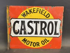 A Wakefield Castrol Motor Oil double sided enamel sign with hanging flange by Bruton of Palmers