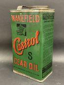 A Wakefield Castrol Gear Oil rectangular gallon can with inner cap seal still intact.