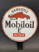 A Gargoyle Mobiloil 'E' for Ford circular double sided enamel bulk tank tag with some restoration at