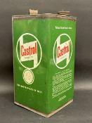 A Castrol Motor Oil square gallon can.