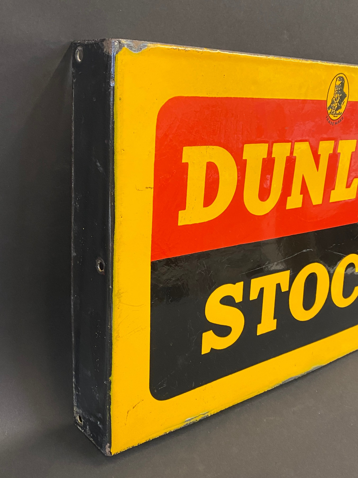 """A Dunlop Stock double sided enamel sign with hanging flange, in excellent condition, 18 x 12"""". - Image 4 of 4"""