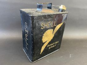 A Shell Aviation Spirit two gallon petrol can with Shell brass cap, unusually with lettering to