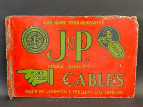 A rare J & P (Johnson & Phillips Ltd) Cables double sided enamel sign with hanging flange, 18 x