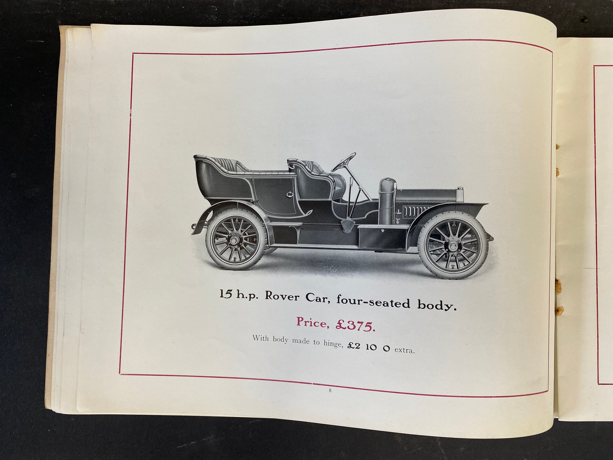 A Rover Cars sales brochure from 1909 featuring the 20hp, the 15hp, the 12hp, the 8hp and the 6hp. - Image 5 of 9