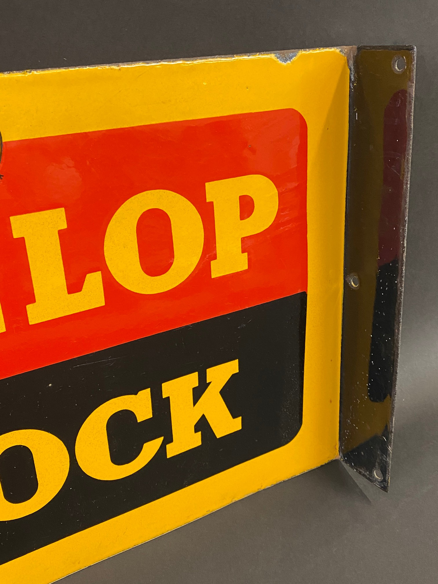 """A Dunlop Stock double sided enamel sign with hanging flange, in excellent condition, 18 x 12"""". - Image 2 of 4"""