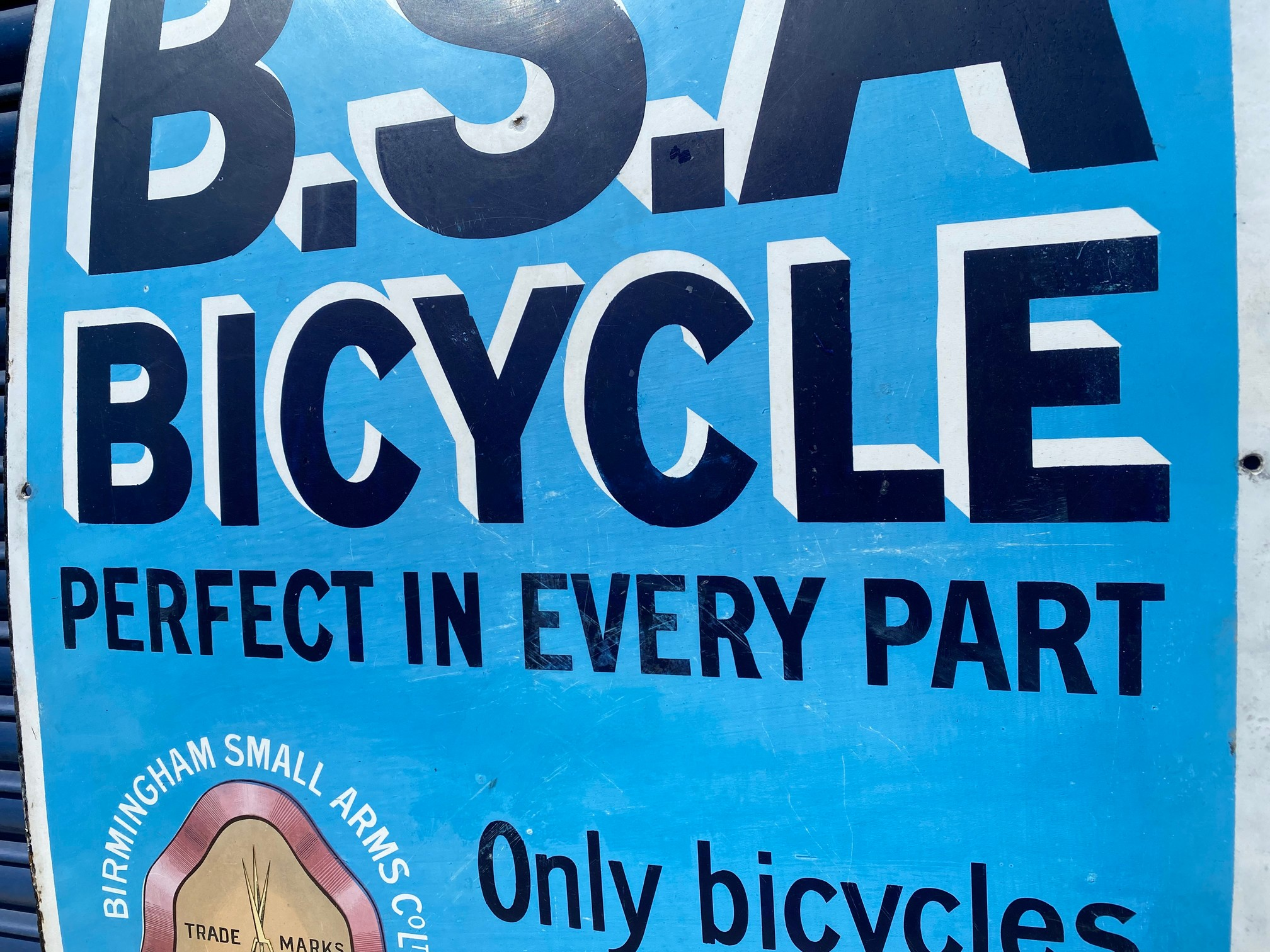 """A BSA Bicycle rectangular enamel sign, with some professional restoration, 28 x 44"""". - Image 4 of 5"""