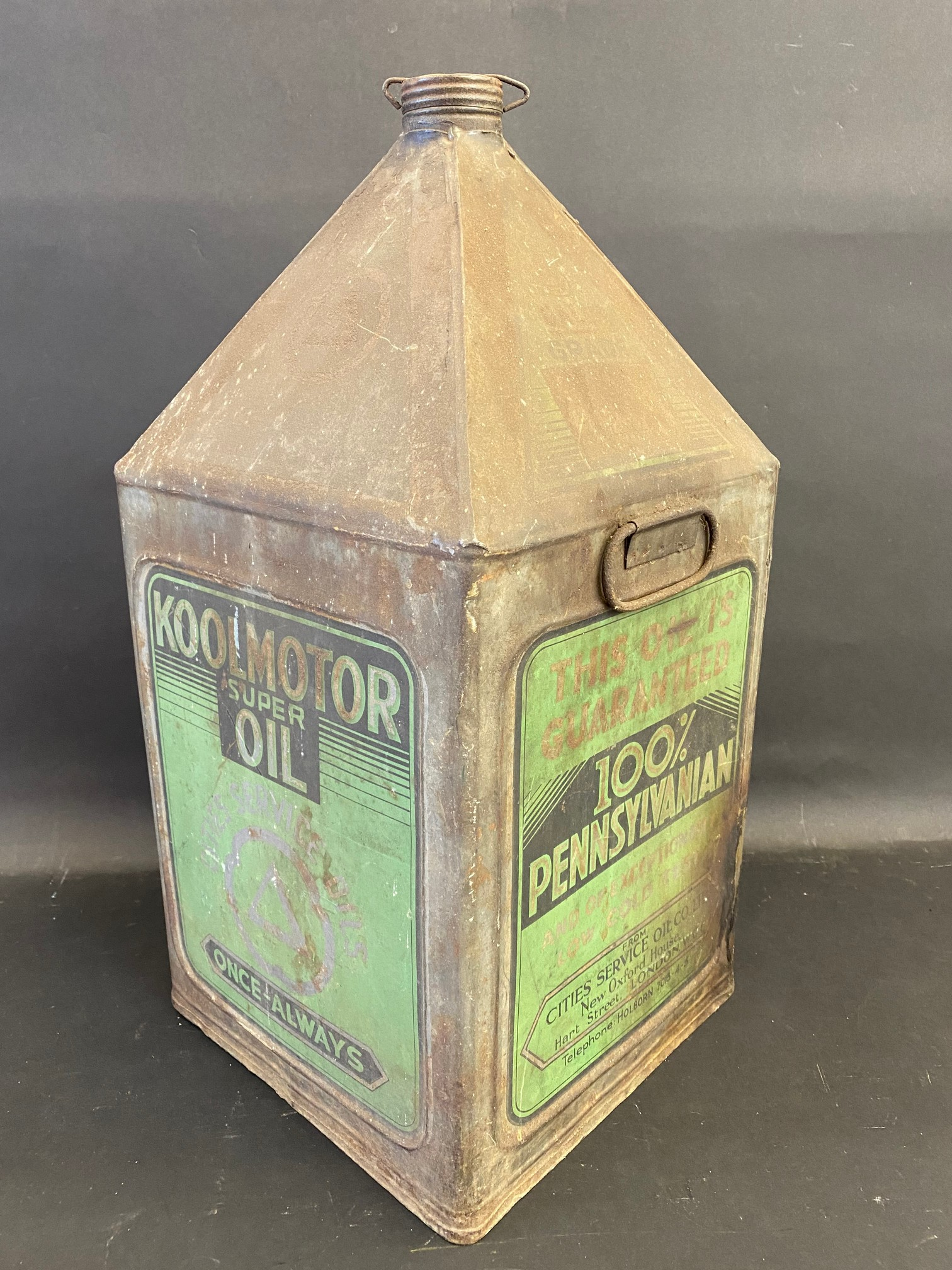 A Koolmotor Super Oil five gallon pyramid can, an unusual UK supplier from Pensylvanian oil. - Image 2 of 4