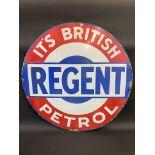 "A Regent British Petrol circular enamel sign with some retouching, 36"" diameter."