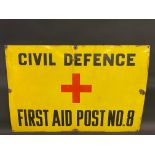 """A Civil Defence First Aid Post No. 8 rectangular enamel sign, 36 x 24""""."""