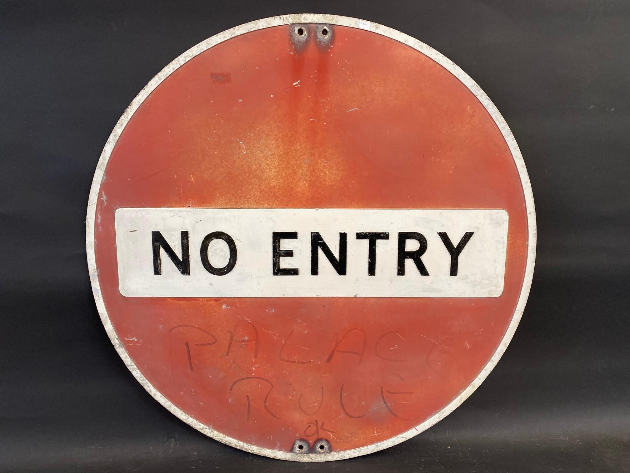 "A large No Entry circular road sign, 30"" diameter."
