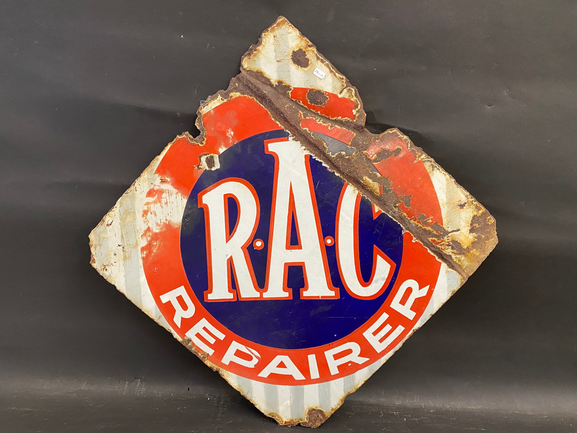 """An R.A.C. Repairer lozenge shaped double sided enamel sign, 28 x 28"""". - Image 3 of 3"""