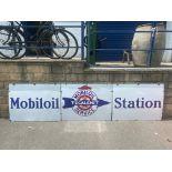 "A set of three enamel signs advertising Mobiloil Tecalamit Car Valeting Service, each sign 40 x 30""."