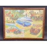 A framed and glazed motoring themed jigsaw puzzle depicting six different cars through the ages,
