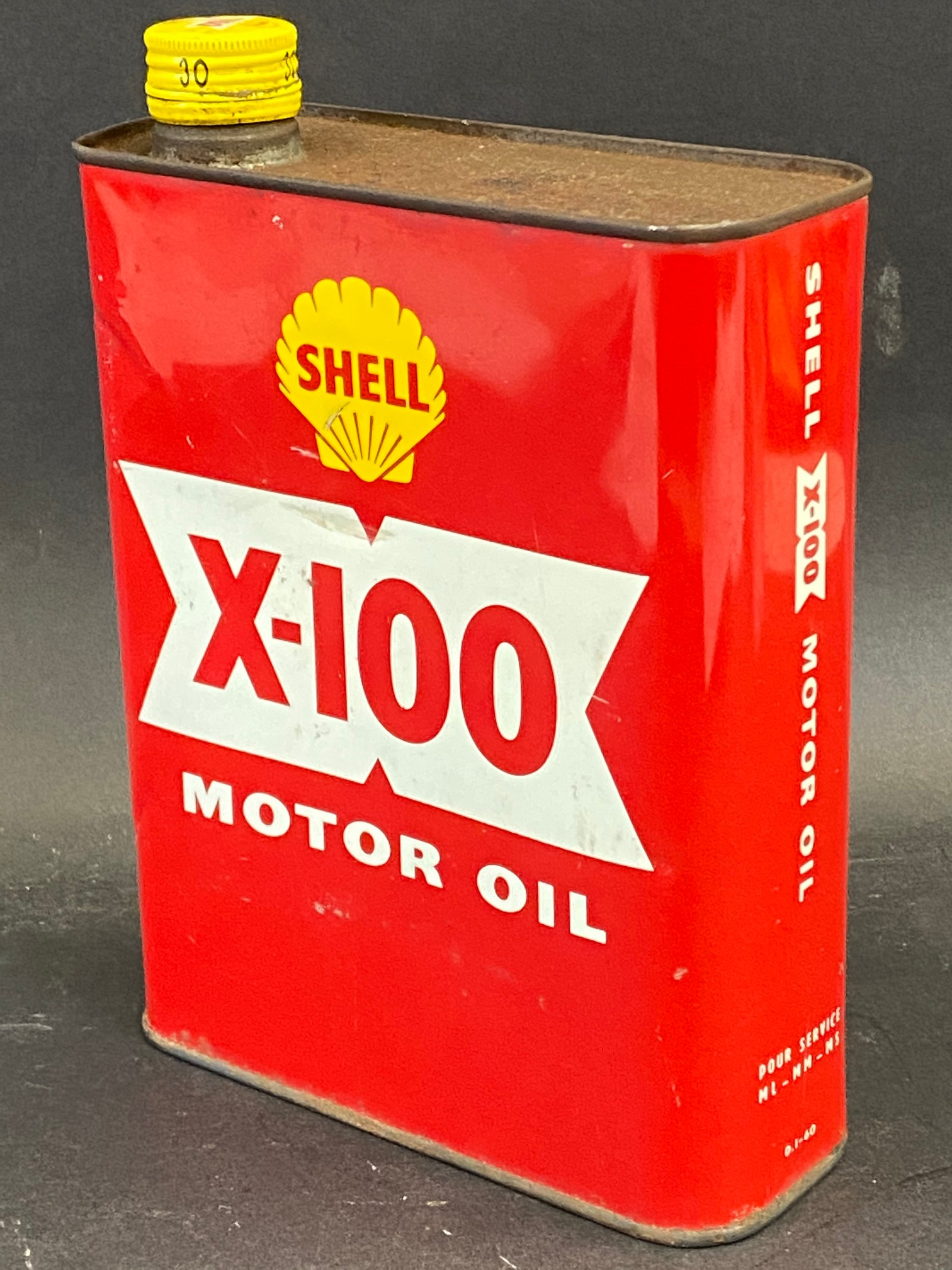 A red Shell X-100 Motor Oil can. - Image 2 of 2