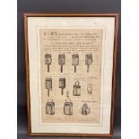 A framed and glazed illustrated price list for 1914-15 showing assorted lamps, W.H.Smith, Newhall