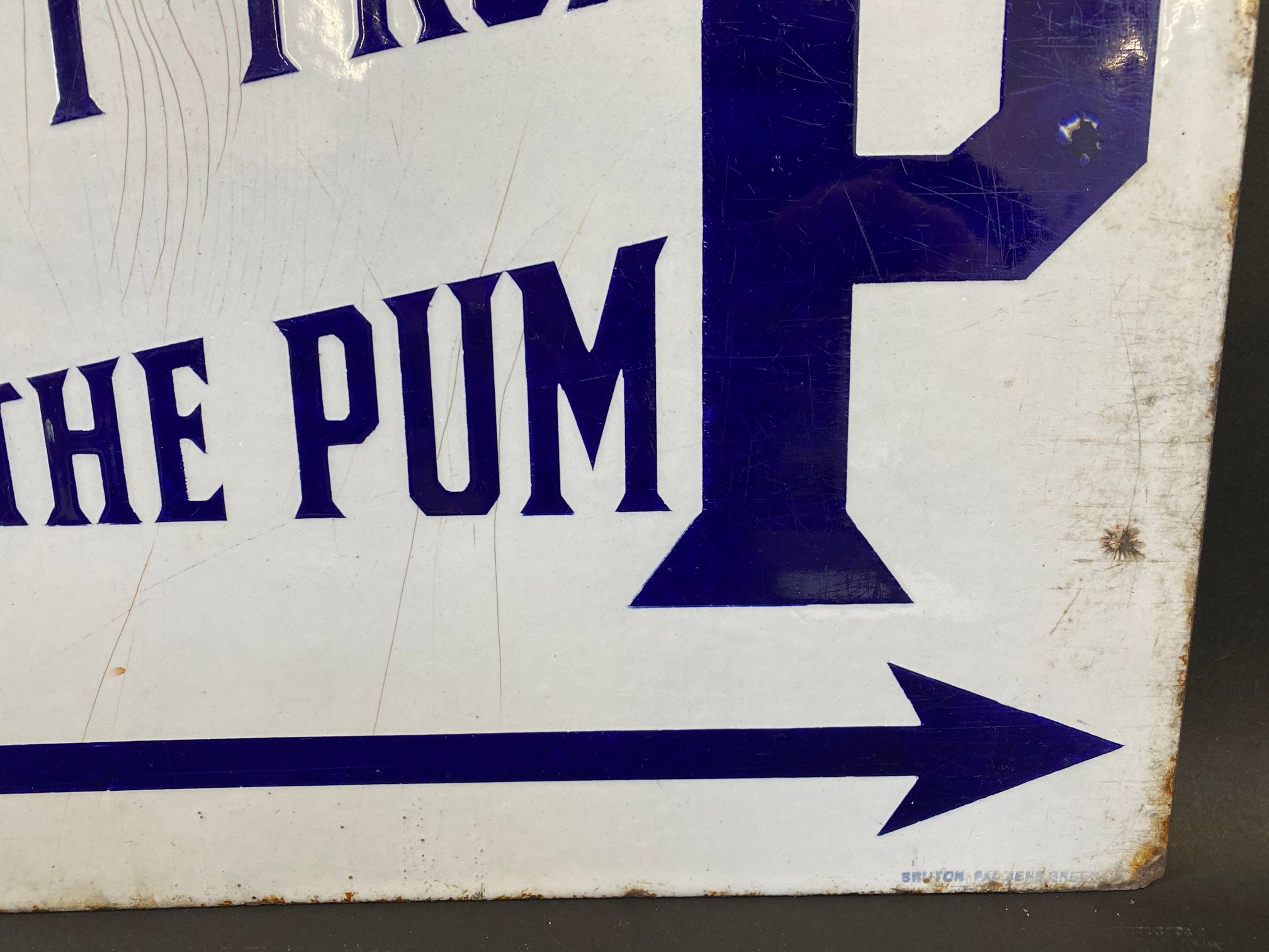 A BP 'Buy from the Pump' rectangular double sided enamel sign with good colour and gloss, by - Image 5 of 5