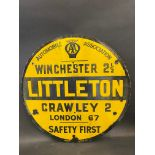 A circular AA road/village sign for Littleton near Winchester, by Franco, small areas of
