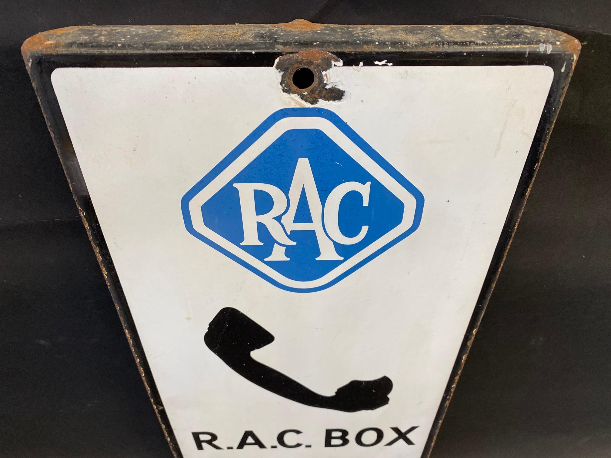 "An RAC Box 1 mile rectangular enamel sign, 10 x 20"". - Image 2 of 4"