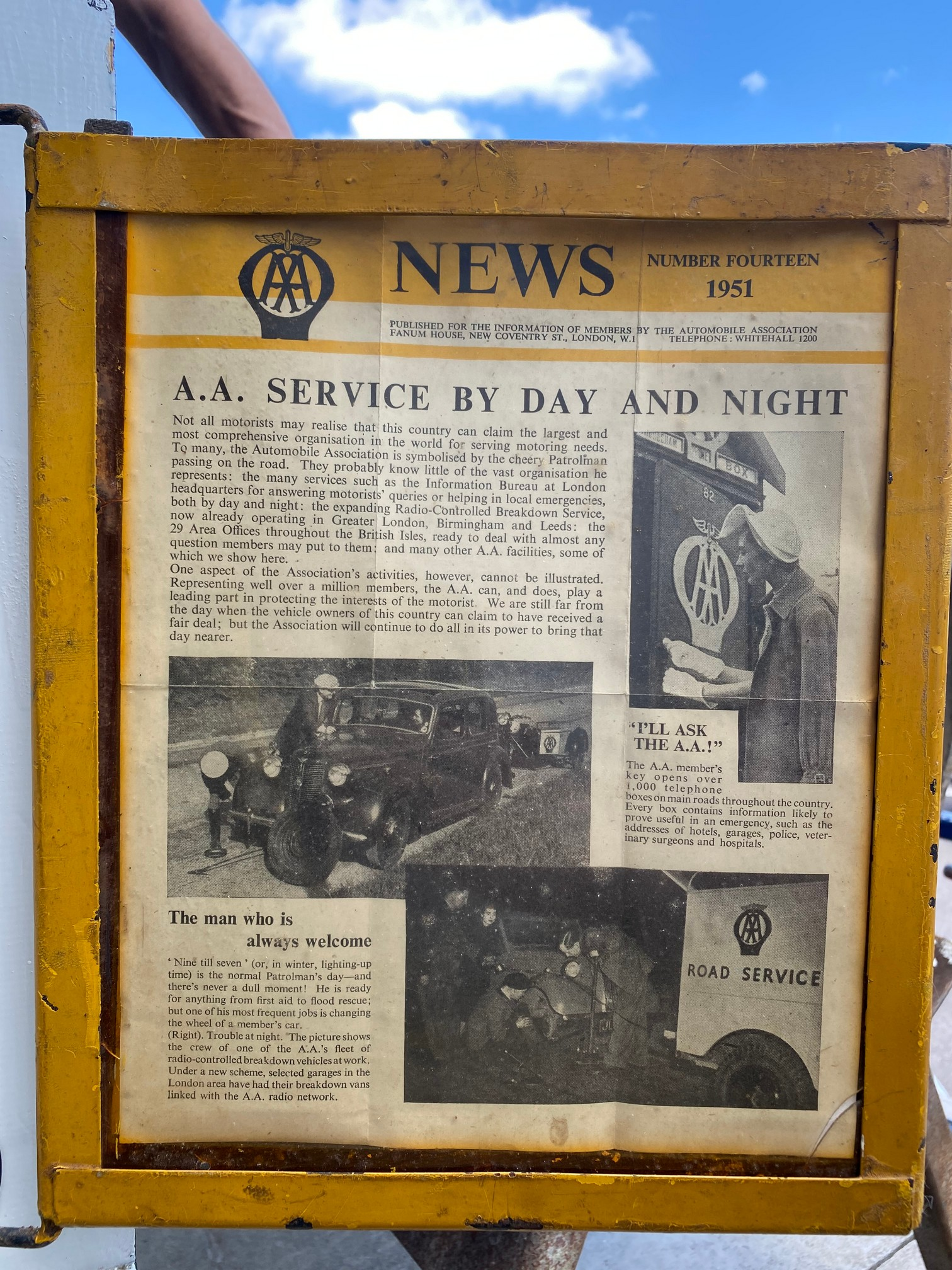 The complete contents and signage from the original AA Formby box, no. 495, removed when the box was - Image 8 of 8
