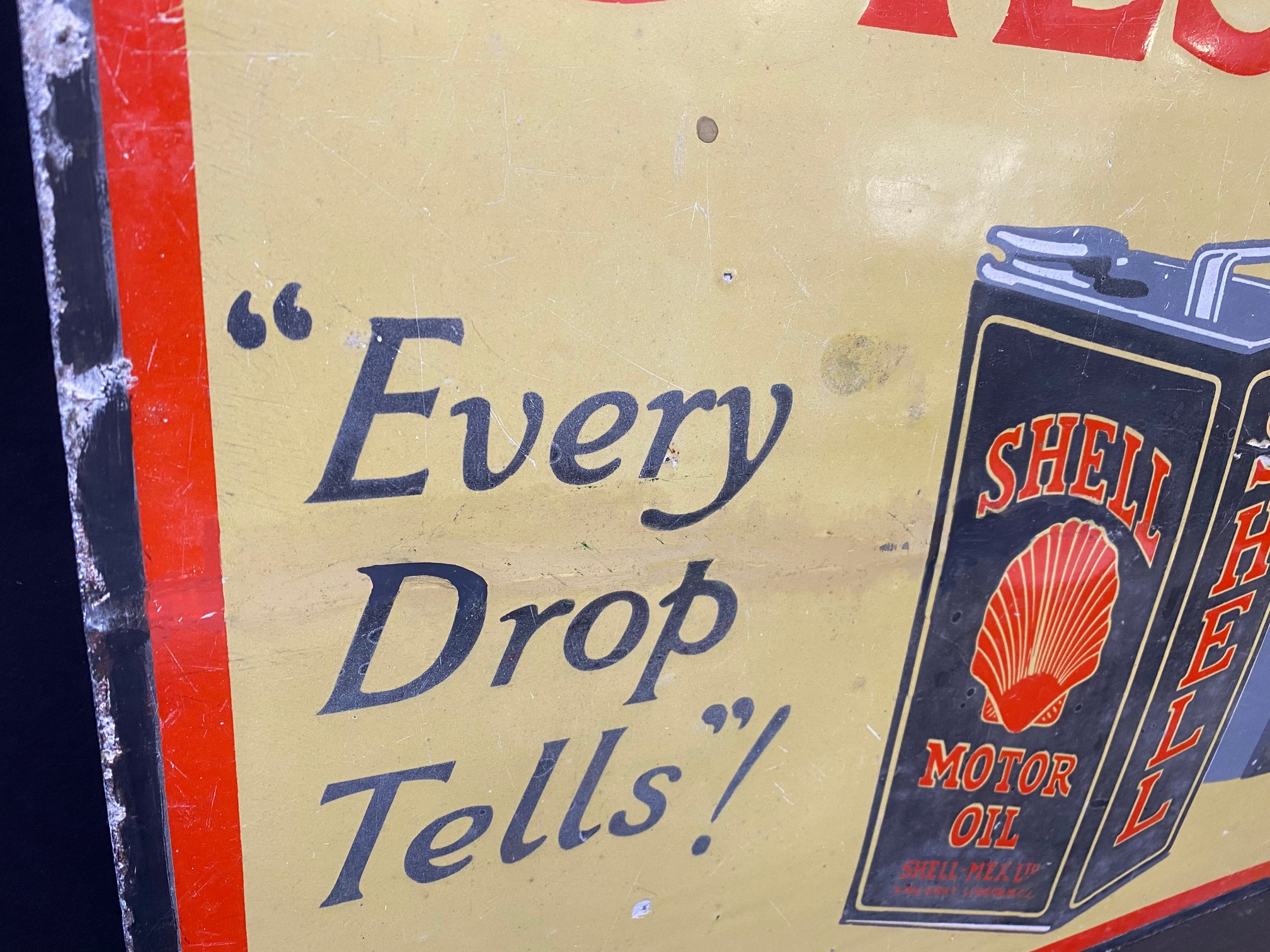A Shell Lubricating Oils 'Every Drop Tells' pictorial enamel sign with some patches of - Image 6 of 8