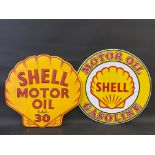 """A contemporary Shell Motor Oil clam shaped tin advertising sign, 23 x 22"""" plus another measuring"""