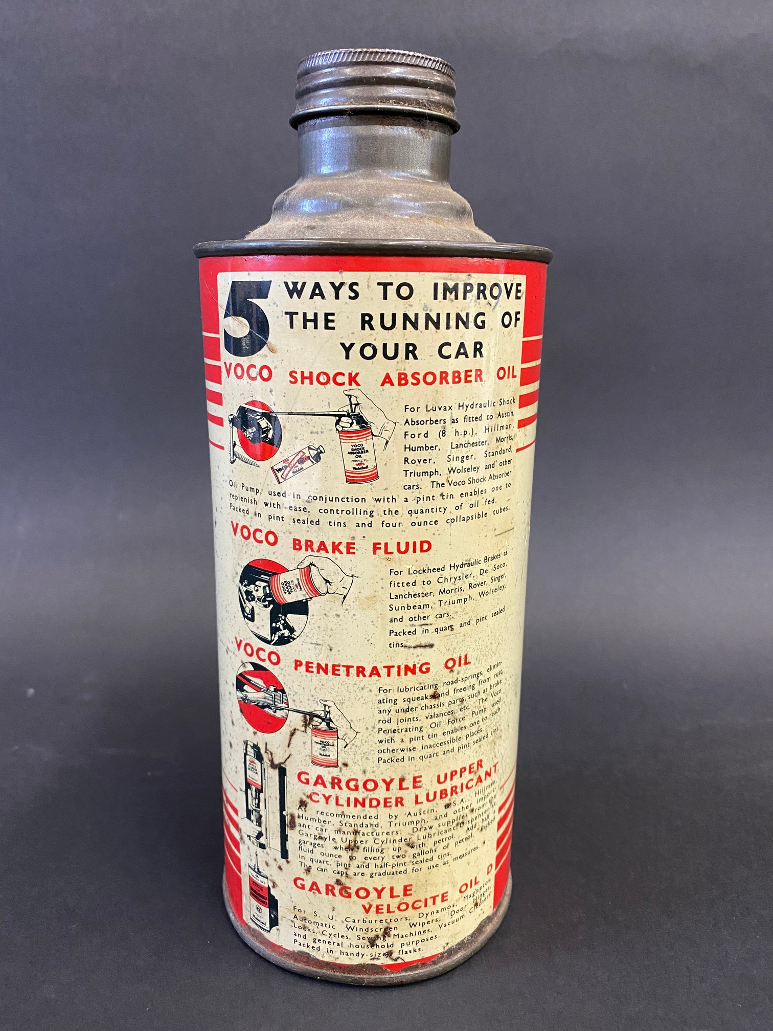 A Gargoyle Mobiloil 'C' grade cylindrical quart can, in good condition. - Image 2 of 4