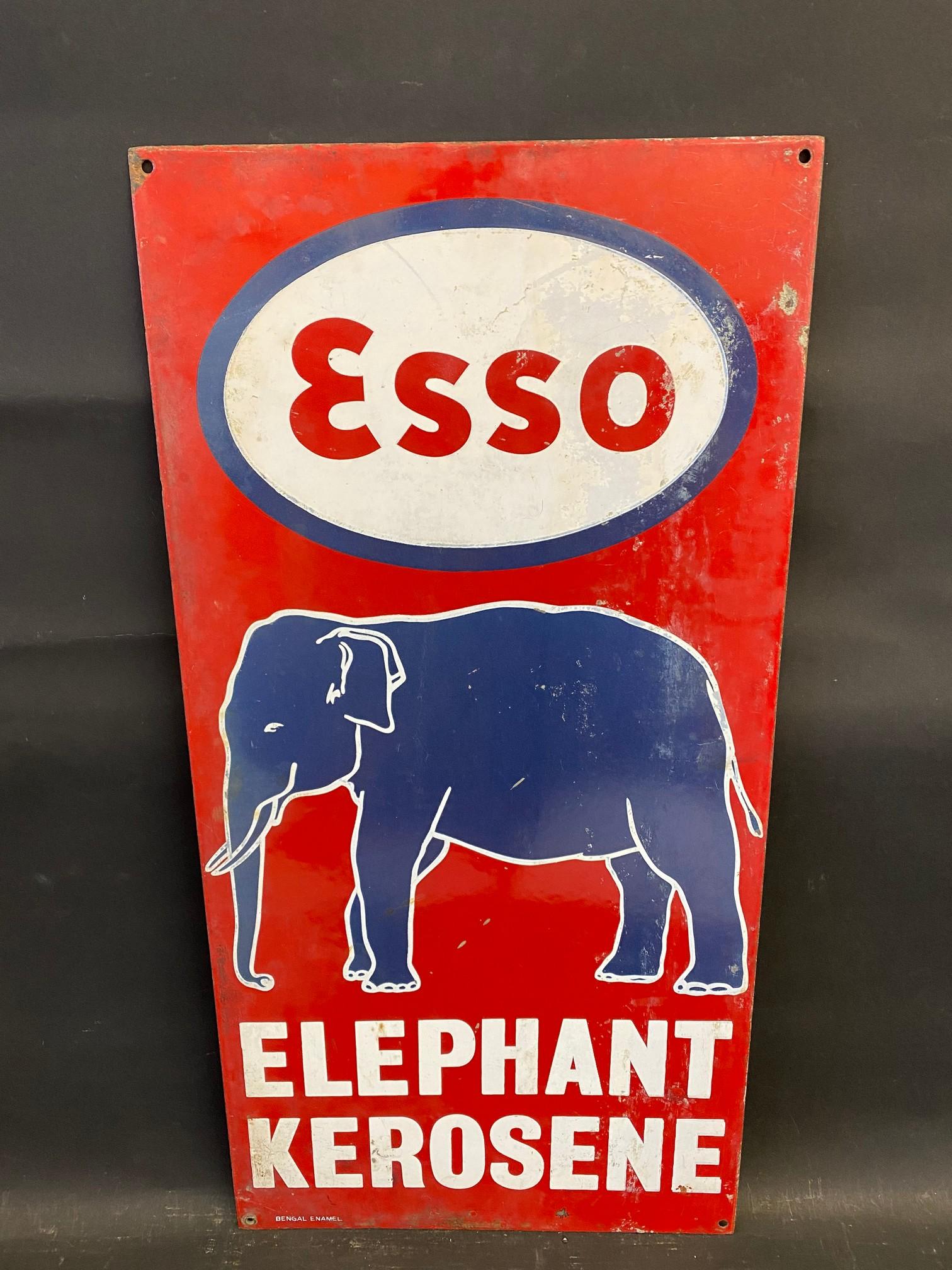 "An Indian Esso Elephant Kerosene pictorial enamel sign by Bengal Enamel, 12 x 24""."