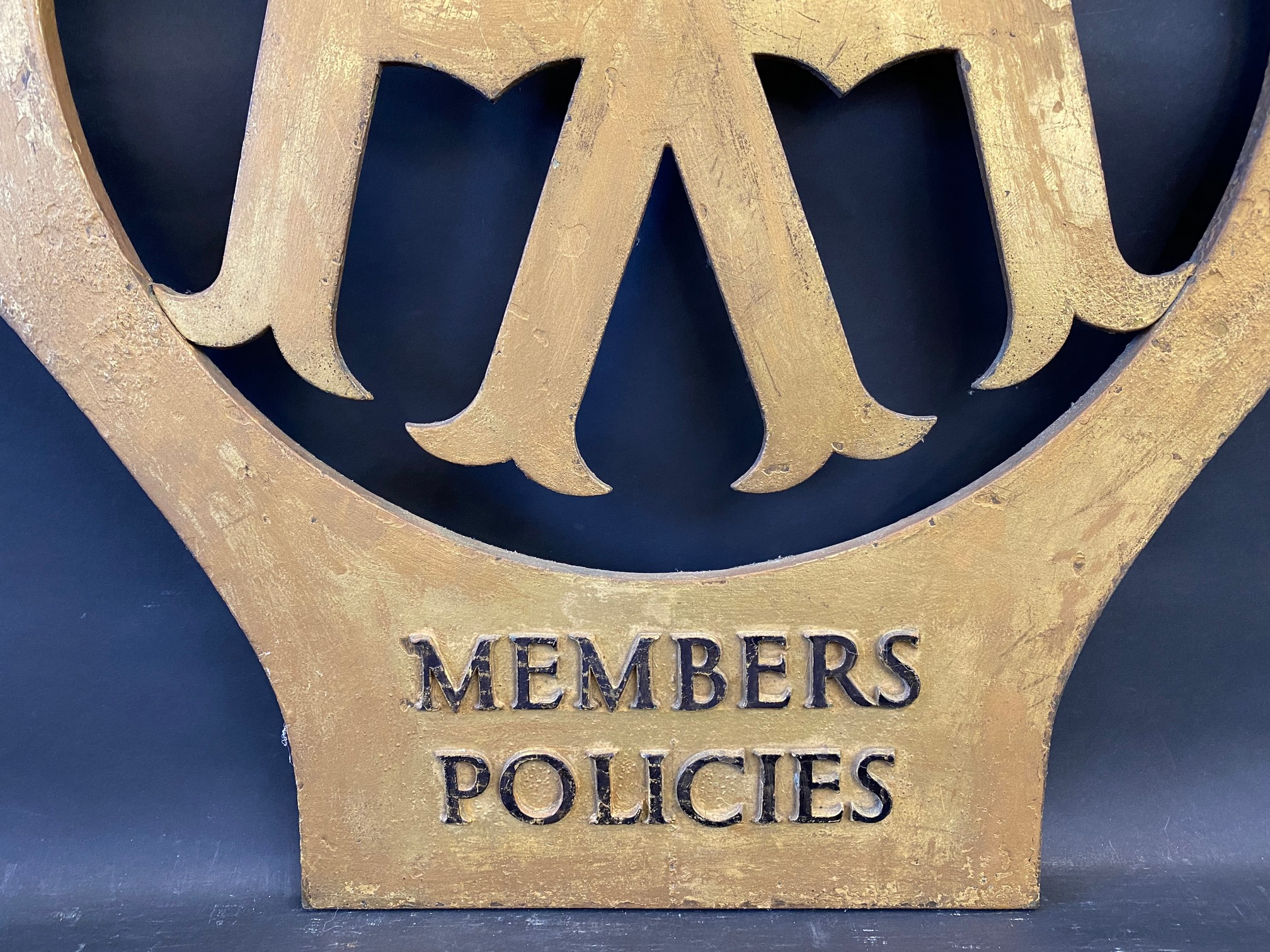 """A rare large scale AA Members Policies bronze die-cut emblem sign, 24 x 27"""". - Image 3 of 4"""