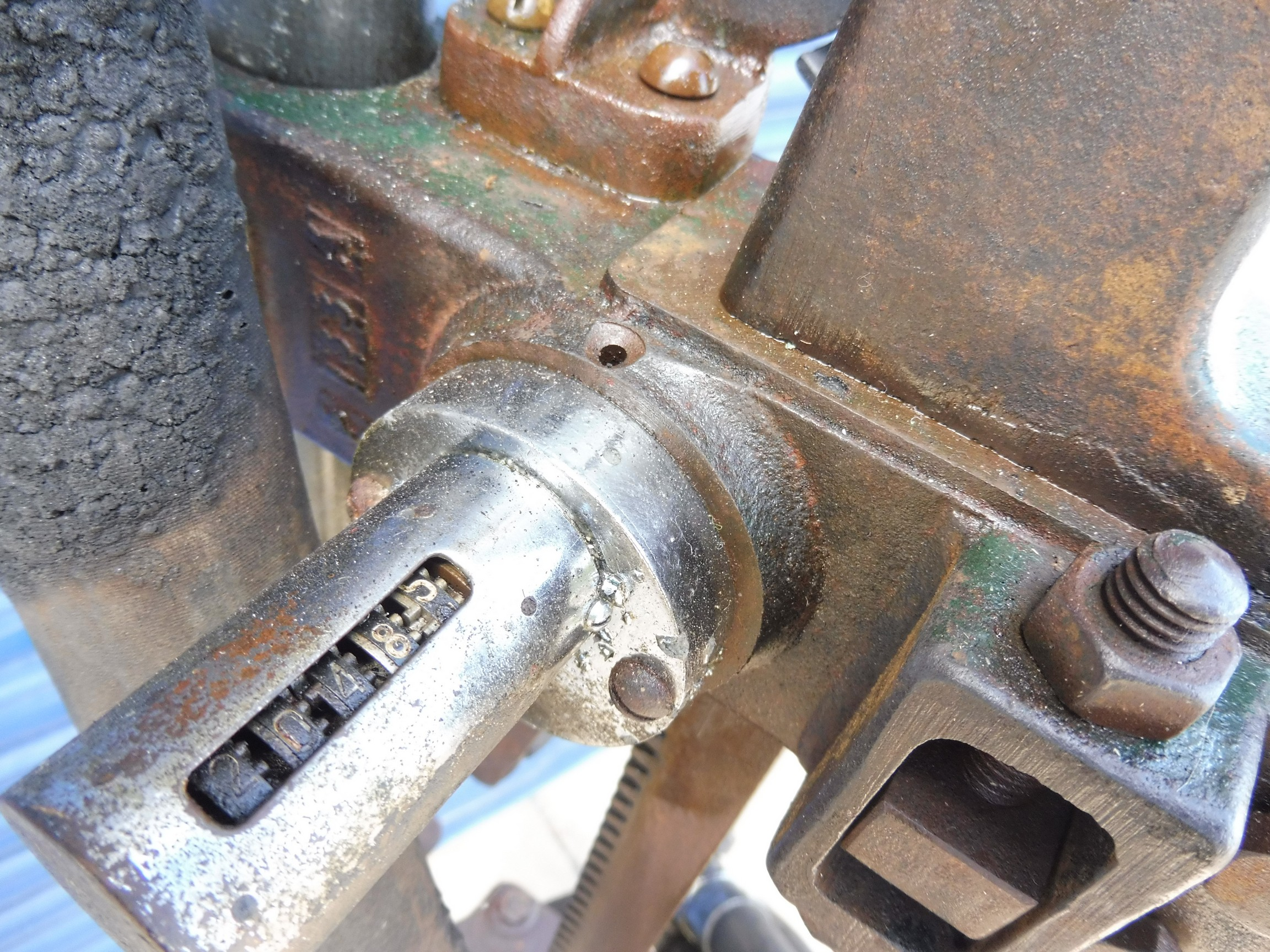 A Godwin hand-operated petrol pump with rubber hose and bronze nozzle. - Image 2 of 4