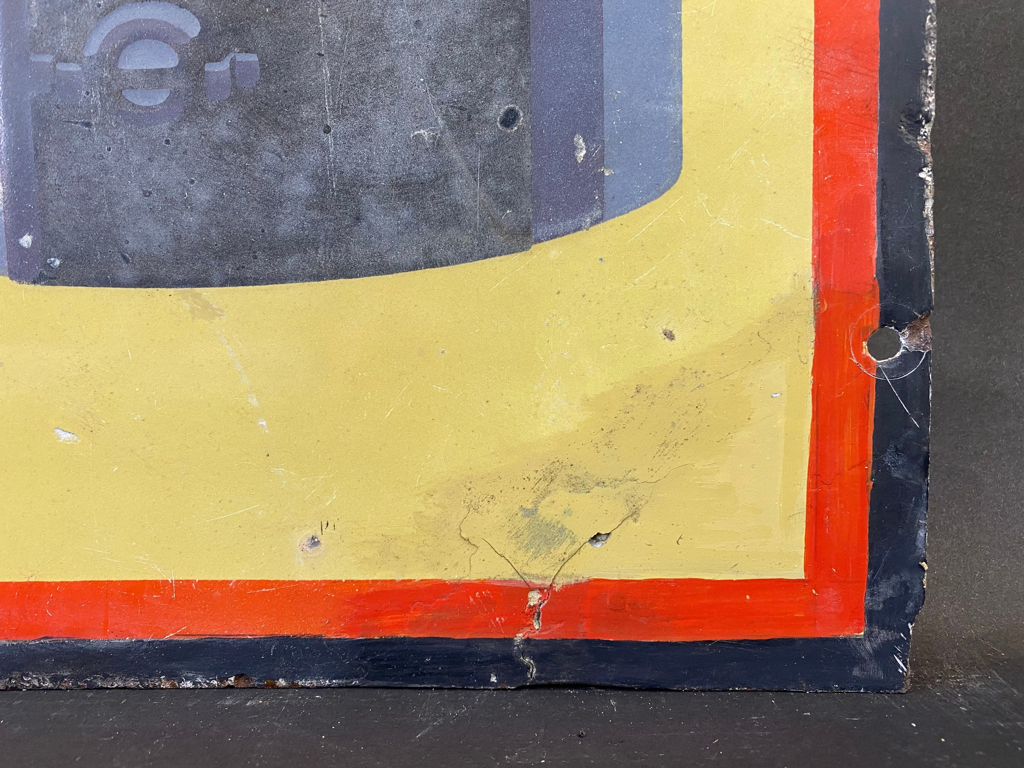 A Shell Lubricating Oils 'Every Drop Tells' pictorial enamel sign with some patches of - Image 5 of 8