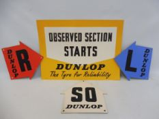 """A Dunlop rally poster dated 1951, 19 x 14"""" plus three directional arrows on card, each 9 1/2 x 9 1/"""