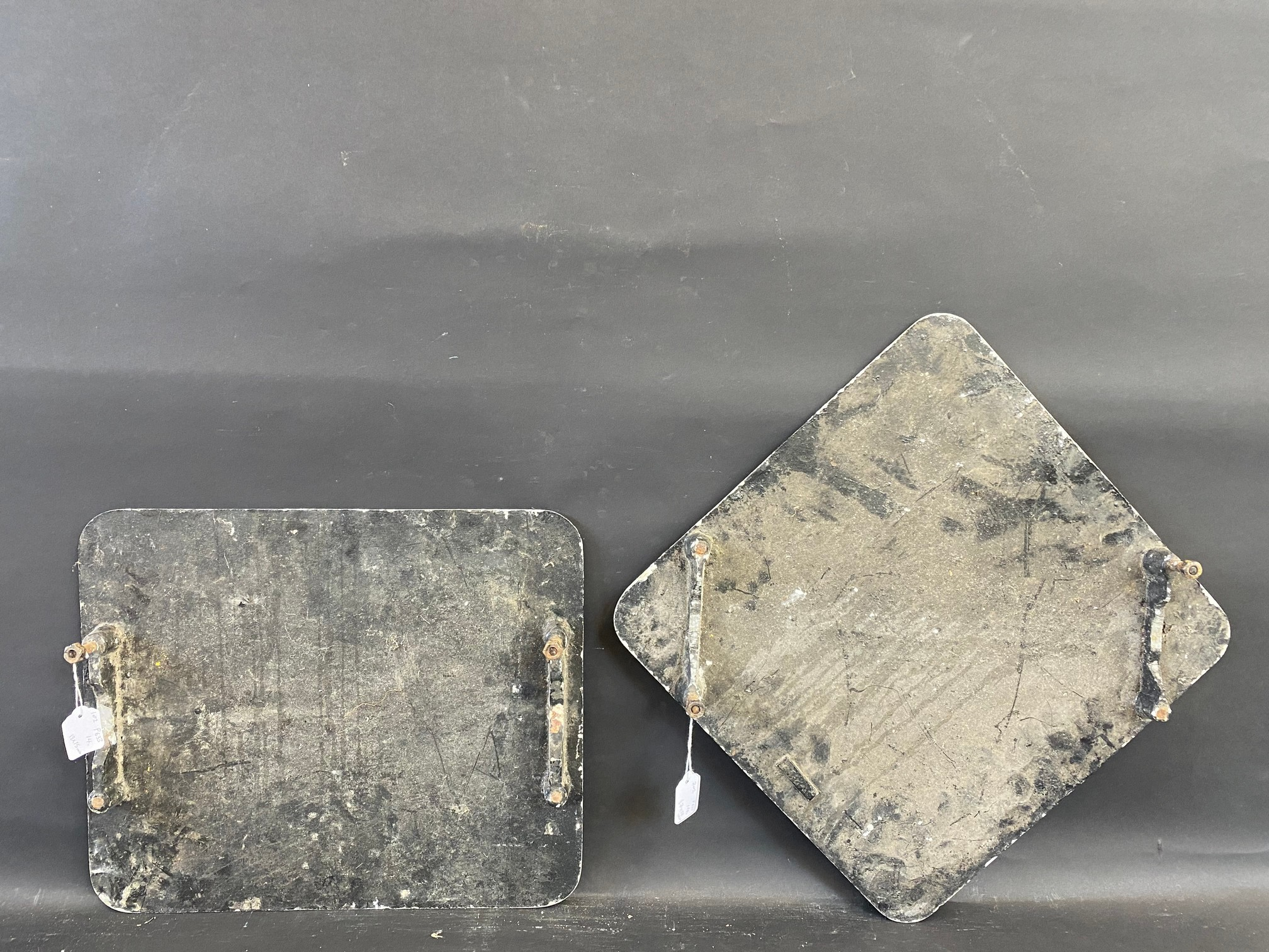"""Two cast aluminium Irish road signs, T junction (18 x 15"""") and Cross Roads (23 x 23""""). - Image 2 of 2"""
