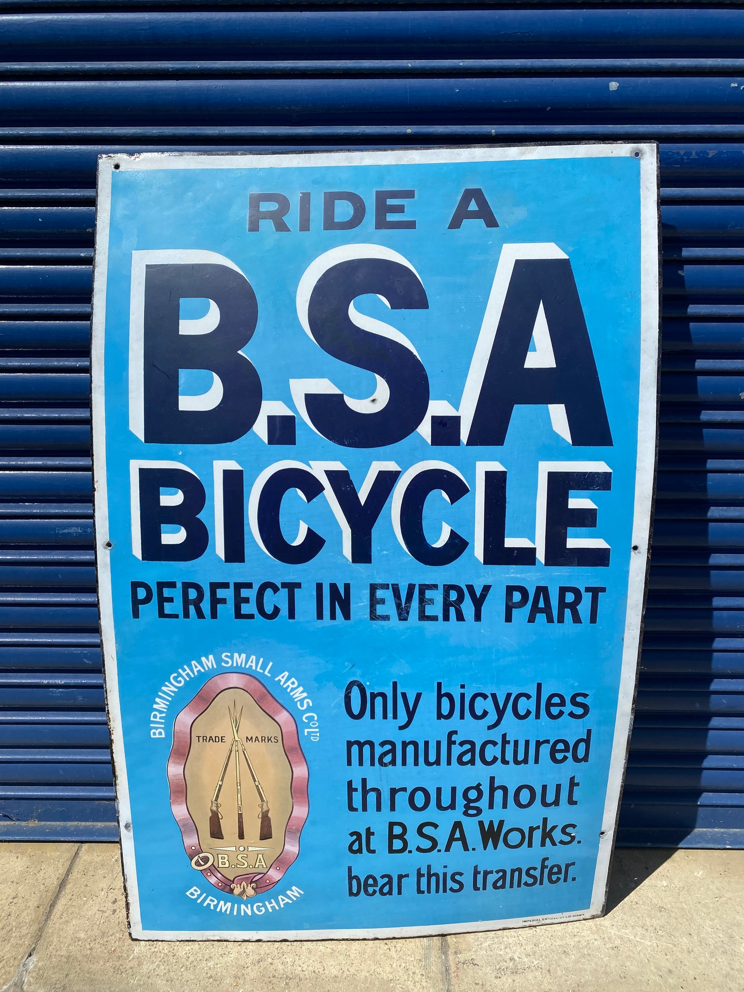 """A BSA Bicycle rectangular enamel sign, with some professional restoration, 28 x 44""""."""