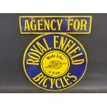 A very good Royal Enfield Bicycles agency double sided enamel sign by Wildman & Meguyer Ltd., in