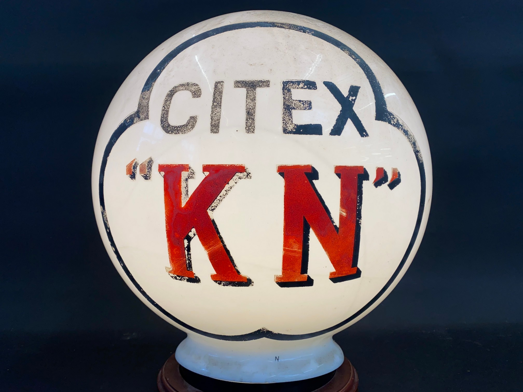 A very rare Citex 'KN' spherical ball glass petrol pump globe, in good original condition.