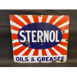"""A Sternol Oils & Greases enamel sign, 21 x 18""""."""