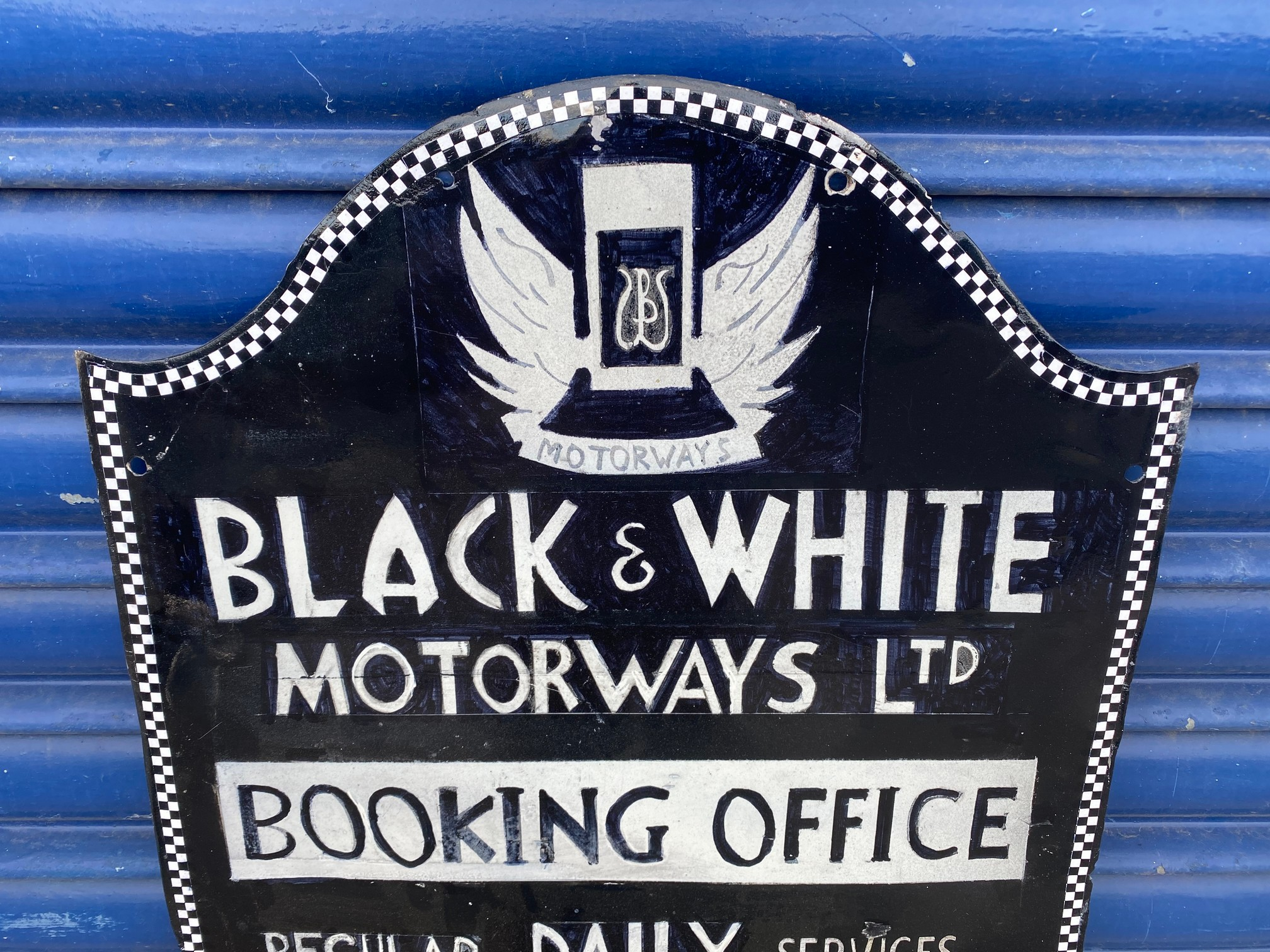 A Black and White Motorways Ltd Booking Office part pictorial enamel sign, heavily restored. - Image 2 of 5