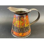 A Shell Motor Oil quart measure with wide pouring neck, bearing the words 'As good as Shell