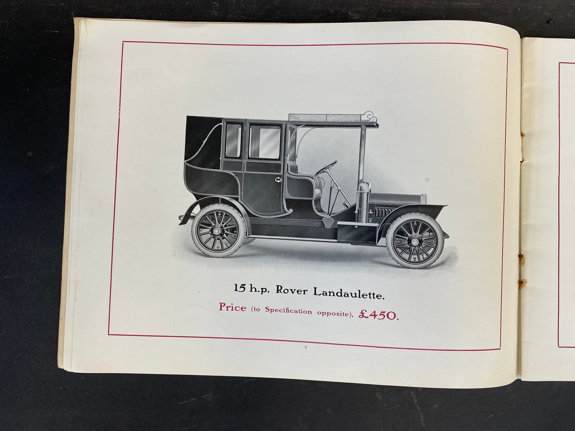 A Rover Cars sales brochure from 1909 featuring the 20hp, the 15hp, the 12hp, the 8hp and the 6hp. - Image 4 of 9