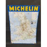 """A Michelin tin map sign, reproduced from a 1966 edition map, 24 3/4 x 34""""."""